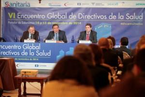 En la inauguración del encuentro participaron José María Pino, el consejero de Sanidad de Castilla y León, Antonio Sáez Aguado, y el presidente de Sedisa, Joaquín Estevez.